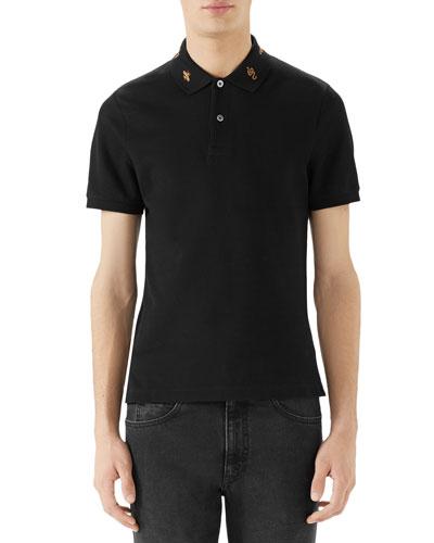 Men's Emblems Embroidered-Collar Polo Shirt