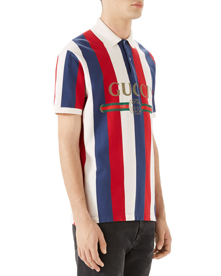 ceceee32fed Gucci Men s Striped Piqué Polo Shirt