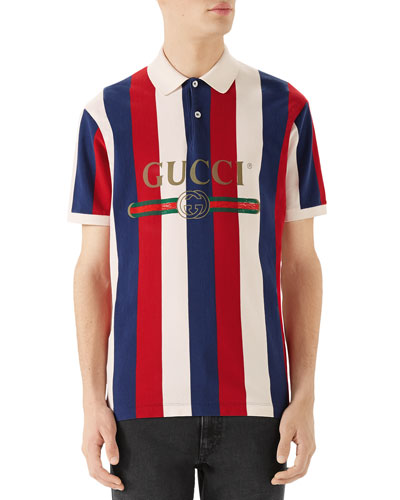 Men's Striped Piqué Polo Shirt
