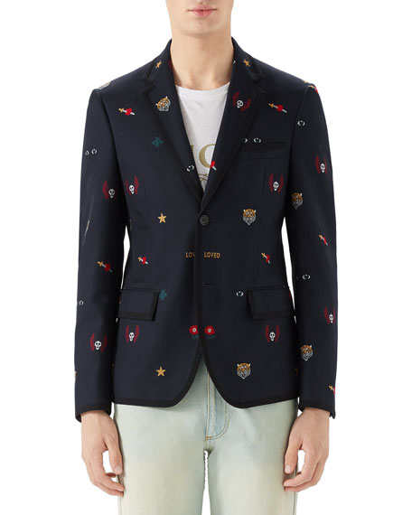 Gucci Men's Embroidered Emblems Cotton Two-Button Blazer