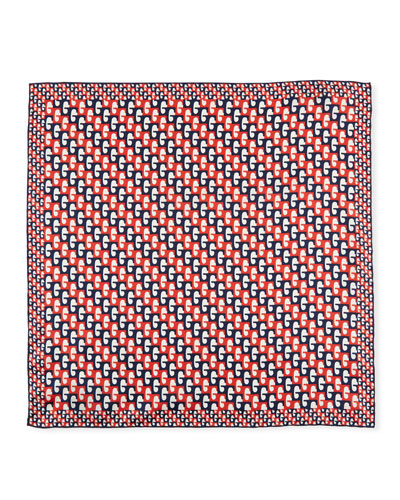 Men's G-Sequence Print Pocket Square