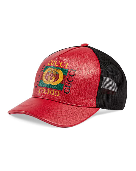 Gucci Men's Vintage Logo-Print Baseball Cap, Red/Black