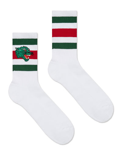 Men's Wolves-Patch Cotton-Blend Socks, White/Green