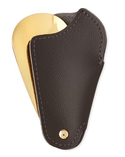 Golden Travel Shoe Horn with Leather Case  Dark Brown