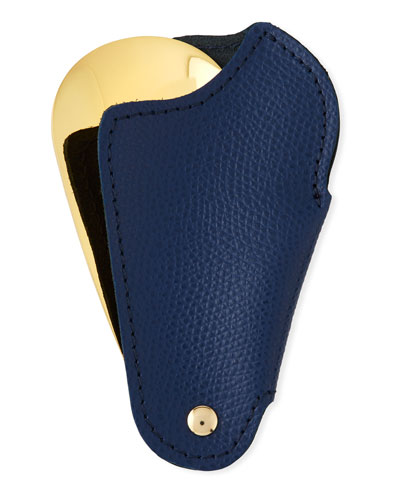 Golden Travel Shoe Horn with Leather Case  Blue