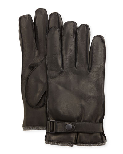 Men's Cashmere-Lined Napa Gloves w/Belted Snap
