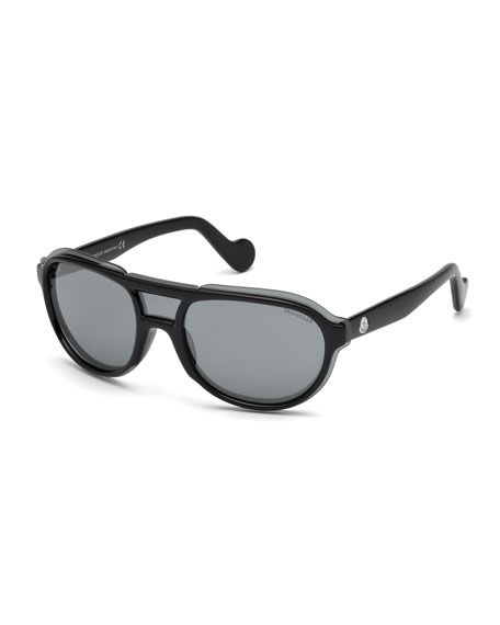 Moncler Men's Shield Aviator Sunglasses, Black/Gray