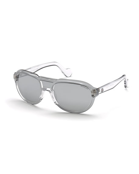 Moncler Men's Thick Plastic Shield Aviator Sunglasses, Clear