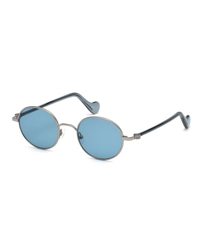 Men's Round Metal Sunglasses, Blue/Brown