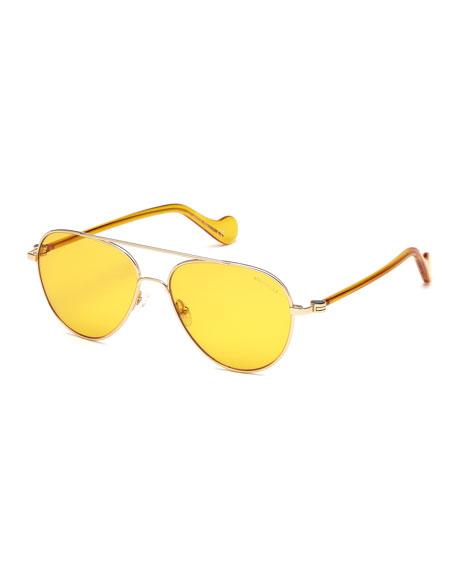 Moncler Men's Mirrored Metal Aviator Sunglasses