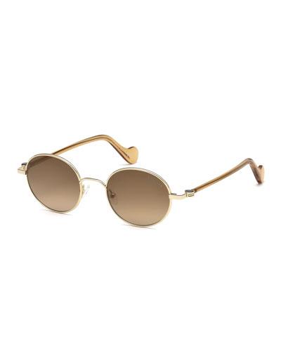 Men's Round Metal Gradient Sunglasses, Gold