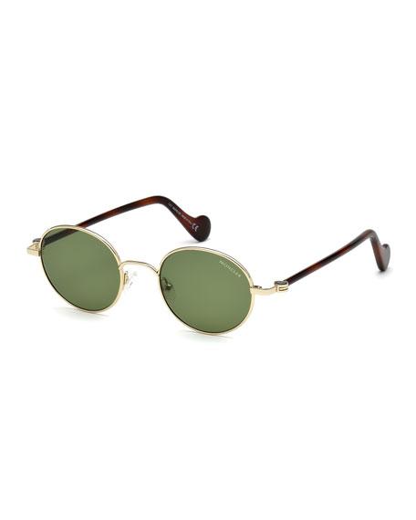 Moncler Men's Round Metal Sunglasses, Gold