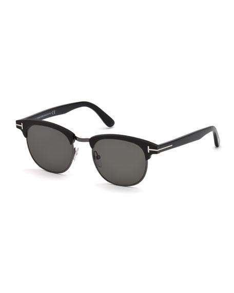 TOM FORD Men's Half-Rim Metal/Acetate Sunglasses - Silvertone