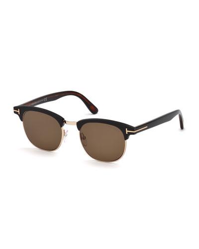 Men's Half-Rim Metal/Acetate Sunglasses - Golden Hardware