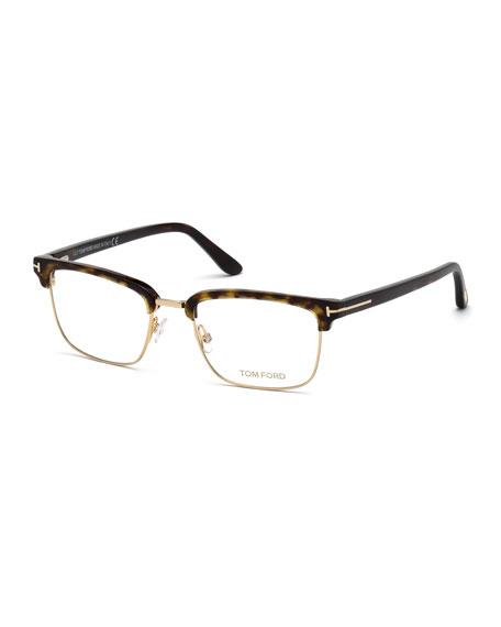 TOM FORD Men's Square Metal/Plastic Half-Rim Optical Glasses
