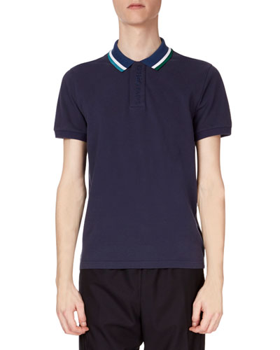 Men's Placket Embroidered Striped-Collar Short-Sleeve Polo Shirt
