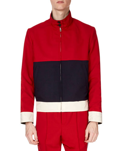 Men's Reversible Stand-Collar Colorblock Harrington Jacket