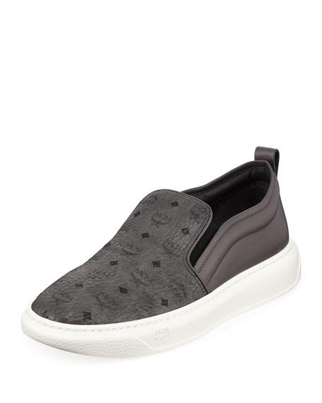 f8e5e729354 MCM Men s Visetos Canvas Leather Slip-On Sneakers