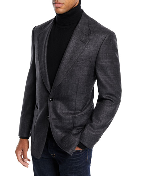 TOM FORD Men's Shelton Melange Wool/Silk Blazer Jacket