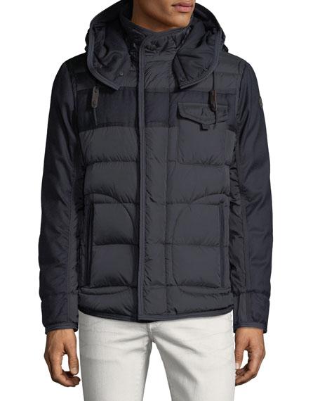 moncler men s ryan hooded puffer jacket in navy modesens rh modesens com