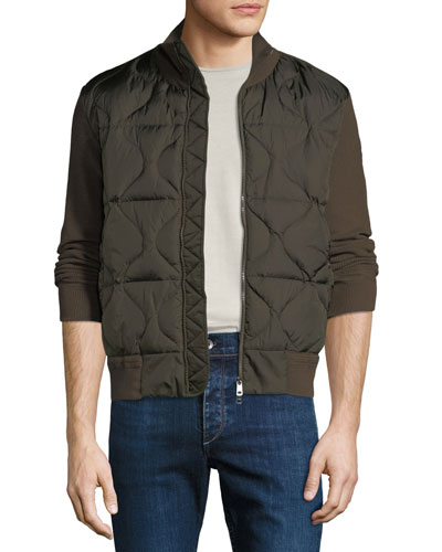 Men's Quilted Knit-Trim Down Combo Jacket