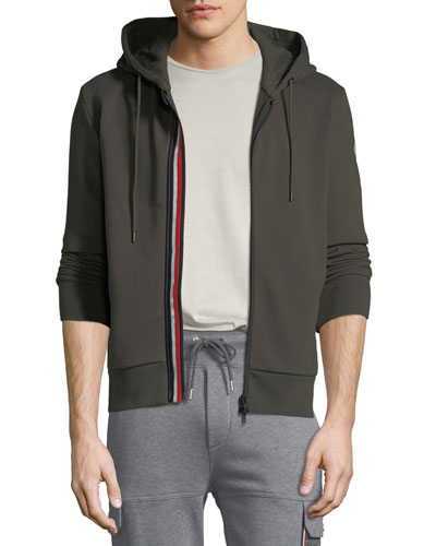 Men's Striped-Placket Zip-Front Hoodie Sweatshirt