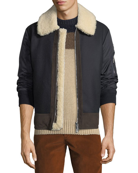 Moncler Men's Plovan Shearling-Trim Bomber Jacket