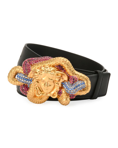 Versace LEATHER MULTICOLOR MEDUSA-BUCKLE BELT