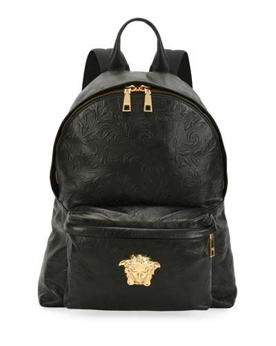 Men's Embossed Leather Medusa Backpack