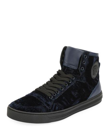 aaa365dfcb Men's Velvet High-Top Sneakers Navy