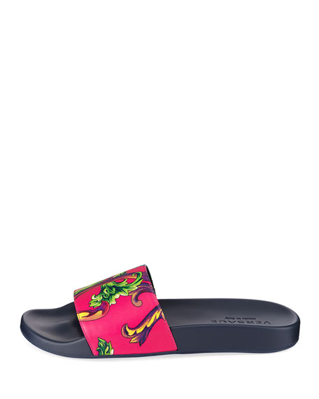 b43094f23ba Versace Men s Graphic-Print Leather Shower Slide Sandals