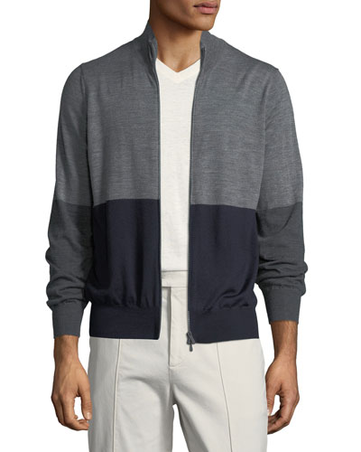 Men's Colorblock Zip-Front Wool Sweater