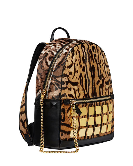 Men's Stark Brass Plate Leopard Medium Backpack