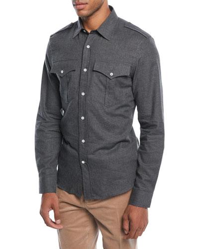 Men's Woven Cotton Western Shirt