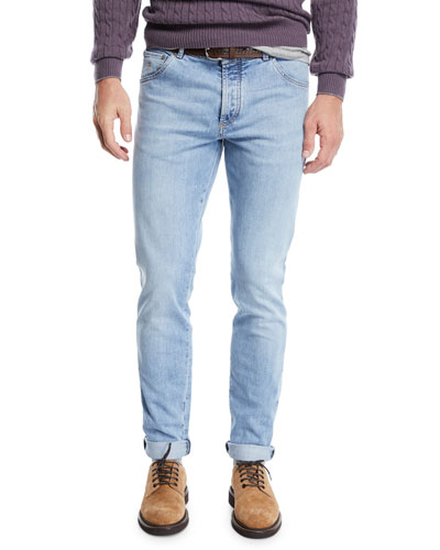 5-Pocket Light-Wash Jeans