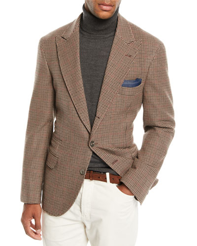 Men's Houndstooth Wool-Blend 3-Button Sport Jacket
