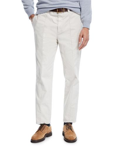 Men's Leisure Fit Pleated-Front Pants