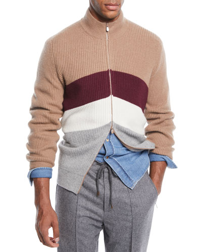 Men's Cashmere Chevron Colorblock Zip Cardigan