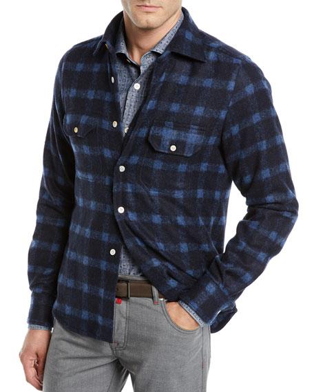 Kiton Men's Check Alpaca Shirt Jacket