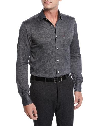 Men's Herringbone Knit Long-Sleeve Sport Shirt