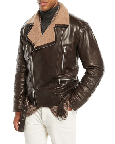 Men's Shearling-Lined Leather Moto Jacket