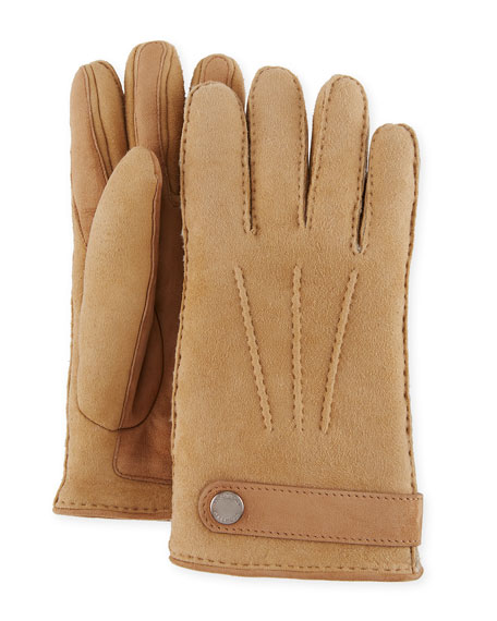 Brunello Cucinelli Men's Shearling-Lined Suede Gloves