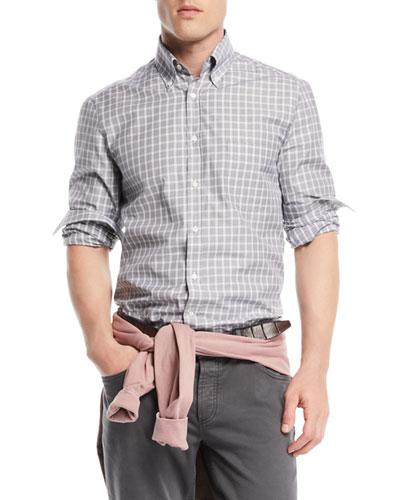 Men's Windowpane Cotton Sport Shirt