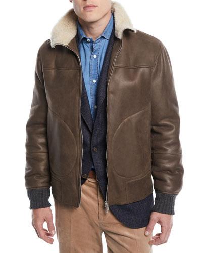 Men's Shearling-Trim Short Leather Jacket