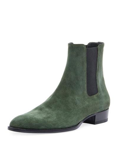 Men's Wyatt 30mm Suede Chelsea Boot, Green