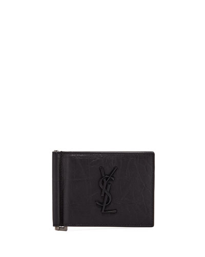 Men's YSL Leather Billfold Wallet w/ Money Clip