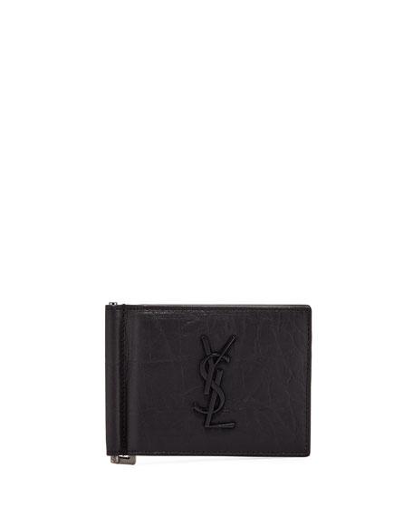 Saint Laurent Men s YSL Leather Billfold Wallet w  Money Clip e8a36d2df5