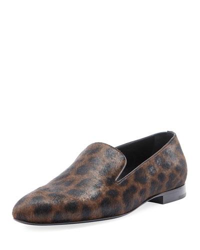 Men's Leopard Calf Hair Smoking Slipper