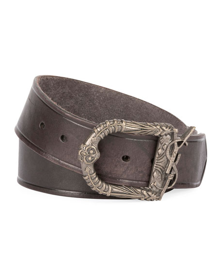 Men's Distressed Leather Belt with Ornate Buckle, Black