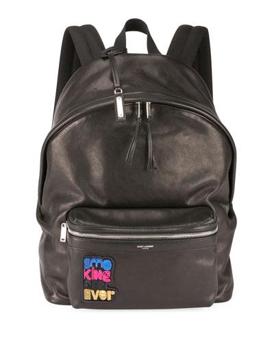 Men's City Appliqué Leather Backpack